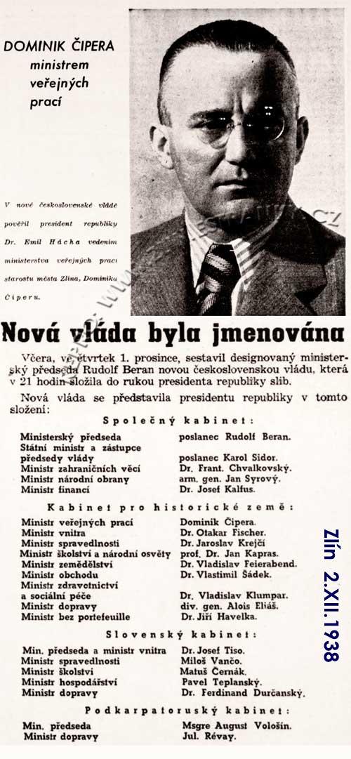Dominik Čipera jmenován ministrem (XI. 1938)