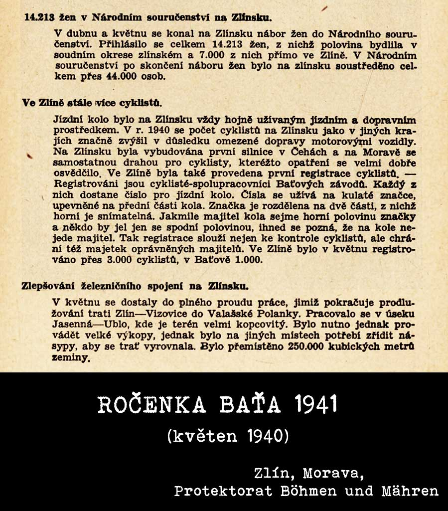 Ročenka Baťa 1941 - cyklisté, železnice, národní souručenství