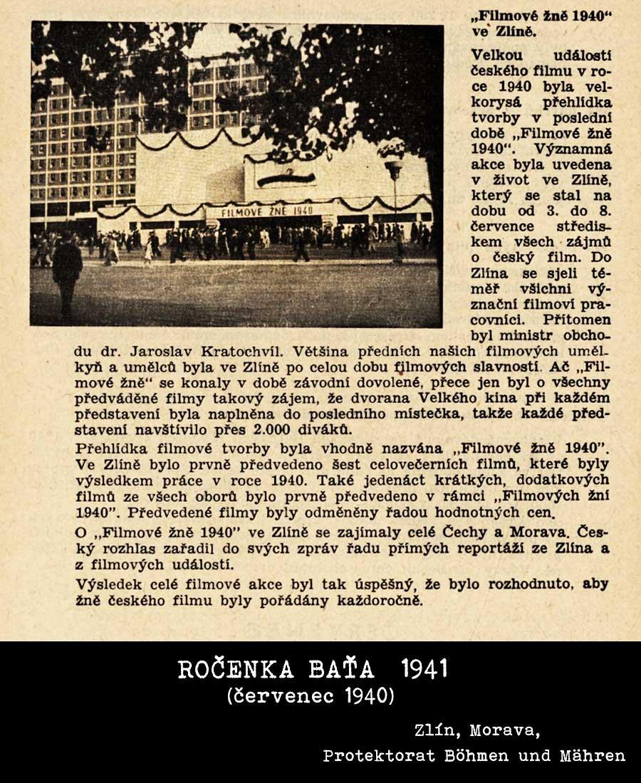 Filmernte - Filmové žně 1940 dle ročenky Baťa 1941