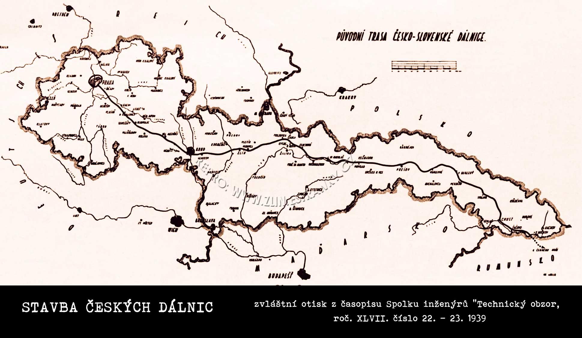 Zamýšlená dálniční páteř ČSR (druhé republiky)