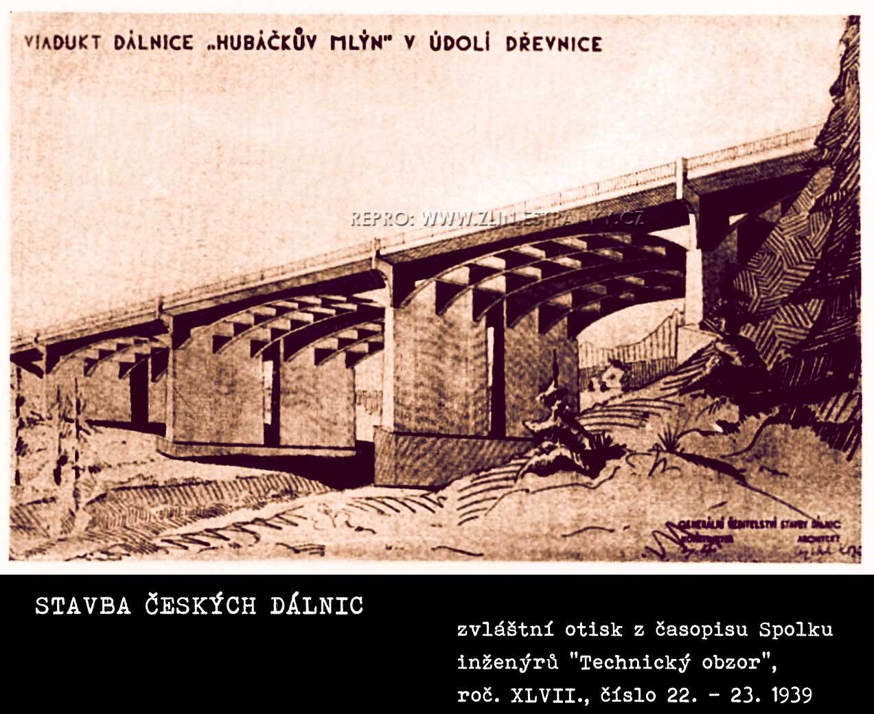 Zamýšlená dálniční páteř ČSR - viadukt v údolí Dřevnice